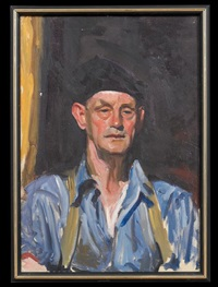 portrait of a man in a black cap by wayman adams