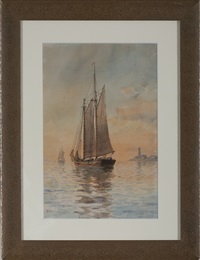 schooner at sunset by fred pansing