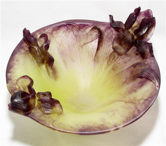 daum pate de verre iris bowl h 7 12 w 12 12