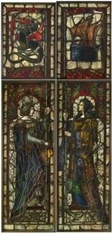 prachtvolles verbleites glasfenster by otto linnemann