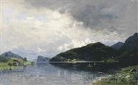 fjord mit zwei anglern im ruderboot by georg anton rasmussen