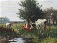 river landscape with cattle by william frederick hulk