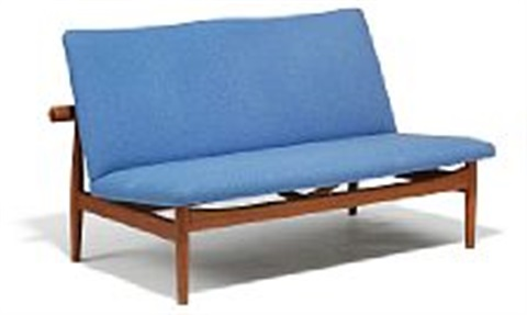 finn juhl japan sofa freestanding two seater sofa upholstered with light blue wool manufactured by france søn l 128 cm