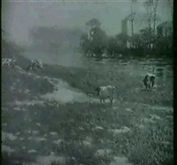 cattle grazing by a river by james bell anderson