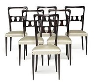 a set of six dark stained mahogany chairs by paolo buffa