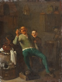 interieur mit pfeiferauchendem mann mit kind – im hintergrund ein mann mit mütze by pieter jacobsz duyfhuysen