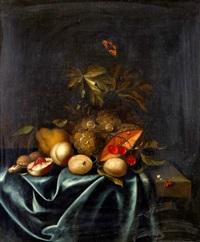 stilleben med frukter och insekter by johannes borman