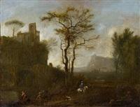 landschaft mit ruinen und reiter by christian hilfgott brand