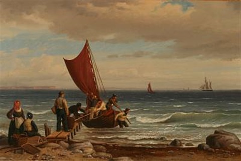 coastal scene with fishermen who gets the caught on land by peter johann p raadsig
