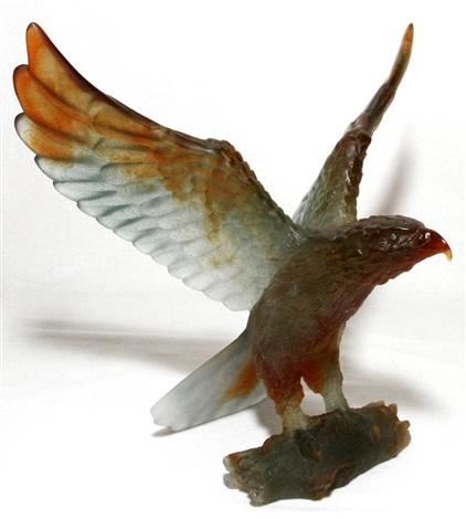 daum pate de verre eagle h 9 14 w 10 34