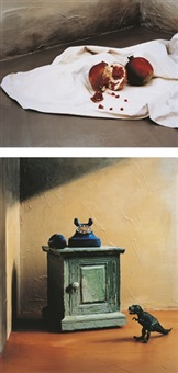still life, pomegranate (+ still life, dinosaur & telephone; 2 works) by yoo hyun mi