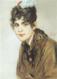 portrait einer eleganten brünetten dame im stil des fin de siècle by friedrich ernst wolfrom