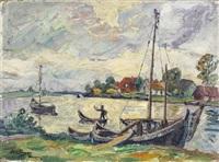 küstenlandschaft mit fischerbooten by otto beyer