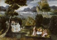 phantasielandschaft mit der darstellung der allegorie des verlorenen sohnes by philips bol