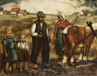farmer's family at the field by barth verschaeren