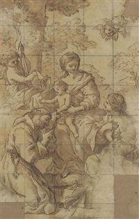 the madonna and child with the infant baptist and saints francis and catherine by giovanni francesco romanelli