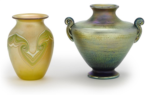 two vases by louis comfort tiffany