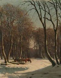 wintry landscape by carl frederik bartsch