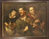 eine dreiköpfige, bäuerliche kapelle die in ihrer leicht grotesk überzeichneten art an pieter brueghel angelehnt scheint by anonymous-dutch (17)