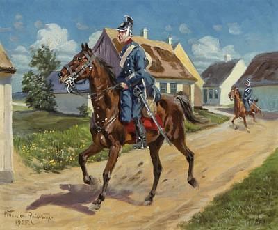 dragoons on horseback by karl frederik christian hansen reistrup
