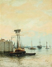 harbor scenery with numerous vessels by edward henry eugene fletcher