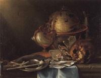 vanitas-stilleben mit nautilus - pokal und globus by n. l. peschier
