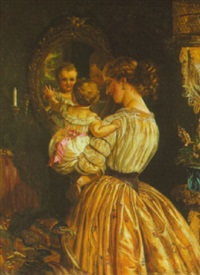 the reflection in the mirror, mother and child by lilly martin spencer