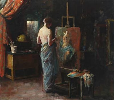 interior from the artists studio with a female nude model naked woman on a sofa verso by herman albert gude vedel