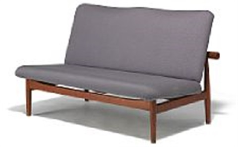 finn juhl japan sofa freestanding two seater sofa upholstered with light grey wool manufactured by france søn l 128 cm