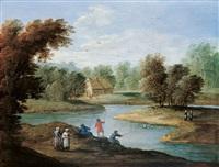 flusslandschaft mit anglern by jan frans van bredael the elder