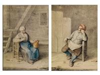 sitzende bäuerin mit tonkrug und glas in einer scheune (+ auf einem stuhl sitzender bauer vor einer bretterwand mit besen im vordergrund; pair) by hendrik carre the younger