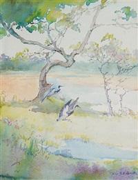 heron alighting by alice ravenel huger smith