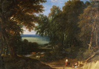 südliche landschaft mit waldungen, rastenden hirten und weidendem vieh by johannes (jan) glauber