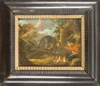 ein raubvogel beschützt mit ausgebreiteten schwingen seine brut vor dem angriff einer raubkatze by gysbert gillisz de hondecoeter