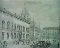 veduta della piazza fontana ora tagliamento by domenico aspari
