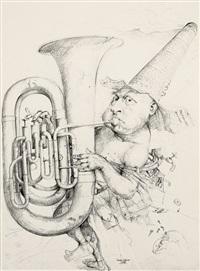 tubabläser - violinist (2 works) (+ sketch, verso; 3 works) by hans reiser