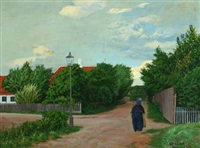 summer landscape with older woman on a path by poul corona
