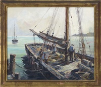 fitting the boat at the wharf by wendell rogers
