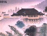 kiyomizu-tempel in kyoto bei regen by tomikichiro tokuriki