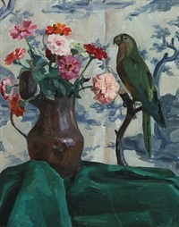 still-life with flowers and parrot by anne e. munch
