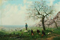 spring landscape with orchard in blossom and grazing turkeys and hens by eugène d' argence