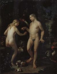paradieslandschaft mit adam und eva by adriaan van der burg