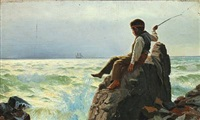 coastal scenery with boy playing on the rocks by carl (jens erik c.) rasmussen