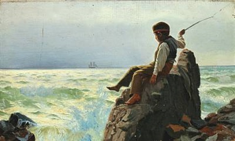 coastal scenery with boy playing on the rocks by carl jens erik c rasmussen
