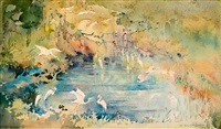 snowy egrets deep in the swamp by alice ravenel huger smith