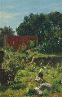 summer landscape with a little girl by niels vinding dorph