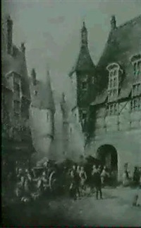 strassenszene in mittelalterlichem dorf by charles p. pitt