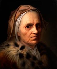 portrait einer alten dame mit bräunlichem kopftuch und luchsfellkragen by hans johann stadler