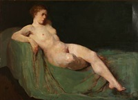 a nude female on a sofa by herman albert gude vedel