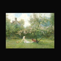 lovers in an orchard by george edward robertson